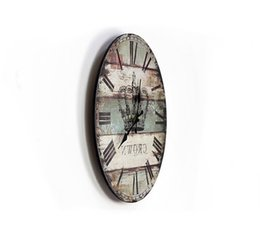 Wholesale clock parts British style retro nostalgia clock painted wood wall clock crown clock flower