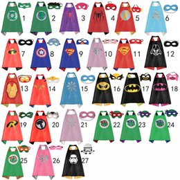 Wholesale 70 CM Double Side Kids Superhero Capes with Masks Batman Spiderman Ninja Turtles Captain America for Kids Halloween Birthday Party