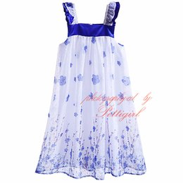 2016 Summer Little Fairy Floral Print Dresses Elegant Girls Square Collar Dress With Blue Flower Pattern Kids Boutique Clothing GD90108-44L