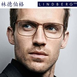 Wholesale Brand glasses Lindberg glasses frame of flat mirror man spectacle frame Btitanium spectacle frame glue frame ultra light glasses