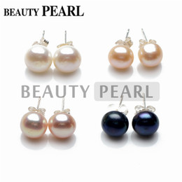 Freshwater Pearl Button Stud Earrings 925 Sterling Silver Perfectly Matched White Pink Lavender Black 20 Pairs