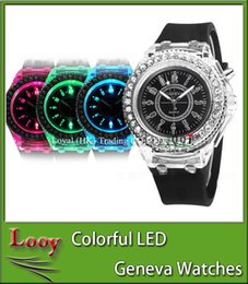 Wholesale Luxury Geneva Silicone Diamond Wristwatch Colorful Lights LED Luminous Quartz Watches Men and Women Watches Geneva Luminous Watches Gifts