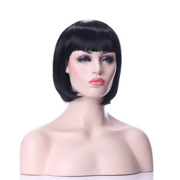 Fashion Stylish Middle Long Straight 1B Color Synthetic wigs Hair Bob Wig Full Bang Heat Resistant Daily Life Wigs
