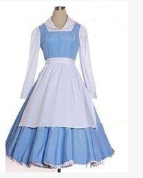 Wholesale adult princess belle beauty and the beast blue plus size costume costume bella maid cosplay costumes dress for women anime