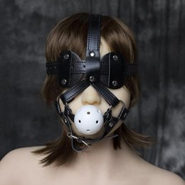Wholesale sexy costume men Leather Head Harnesses Fetish Muzzles Mouth Ball Gag with Blindfold Silence Ballgags Sex Adult