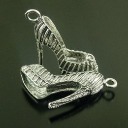 6X Vintage Style Silver Tone High Heel Shoes Pendant Charms 40*35*12mm jewelry making