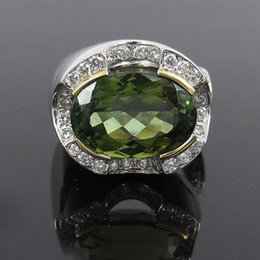 Bague tourmaline en or vert en Ligne-Fine 9,28ct Green Turmaline 0.62ct Diamant 18K Gold Ring Taille 5.75