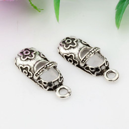 Wholesale Hot Antique Silver Baby Shoes charm Pendants Jewelry DIY x9mm