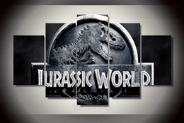 Wholesale 5 Set No Framed HD Printed jurassic park logo wall stone Painting on canvas room decoration print poster picture monkey art