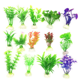 Wholesale 10pcs Hot Sale New Plastic Cute Artificial Green Colorful Underwater Plant Fish Tank Aquarium Decoration Oranment Decor Plant
