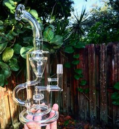 New Bong glass water pipe glass bong recycler bong water pipe two function with oil rig herb bowl free