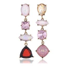 2016 Asymmetric Irregular Luxury Pink Crystal Resin Gem Dangle Statement Charm Earring Vintage Geometric Long Party Earrings Bijoux