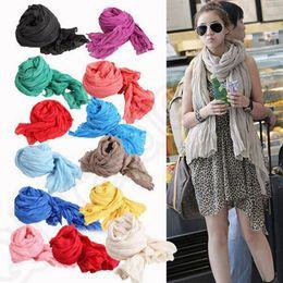 Wholesale Crinkle Cotton Scarves Wholesale - Pleated Woman Scarf Wrap Long Crinkle Shawl Soft Cotton 50*180cm Soild Candy Color Voile Scarves 28 colors OOA779