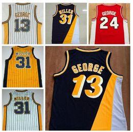 Wholesale Men s Reggie Miller Jersey Throwback Baasketball Miller Jerseys White Black Yellow Red Paul George Jerseys Retro Shirt