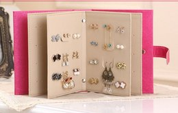 Wholesale New Arrival Pu leather Stud Earrings collection book pattern portable jewelry display creative jewelry storage box qz