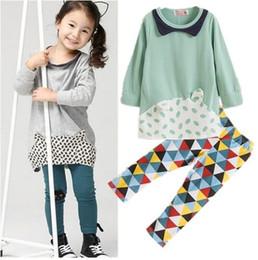 Wholesale 2016 Autumn Children clothes kids longs sleeve cat pattern clothes children top pants cotton good quality S l