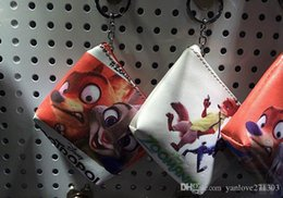 Wholesale 2016 zootopia PU leather purse crazy animals city zip fashion silver bag baby pendant keychain A20