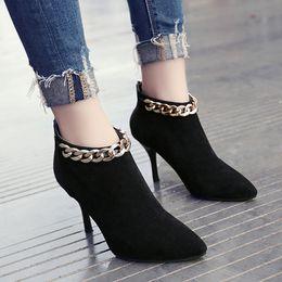 Women Shoes New Women Boots 2017 Boots Winter High 8CM Fashion Suede High Heels Women Shoes Normal Size 35-39