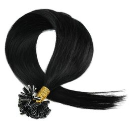 Wholesale Cheap Keratin - Straight Brazilian Virgin Hair U-tip hair extensions All Colors 1g strand 100g Cheap Remy Keratin Nail Pre bonded hair 7A Grade