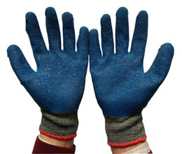 Natural Latex Glove Wrinkle Finish Protective Cotton Latex Glove Palm Dipped Latex Security Glove Construction Labor Protection Glove