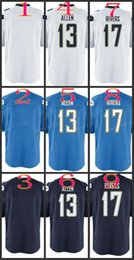 Wholesale Youth NIK Game Football Stitched Blank Allen Rivers Light Blue White Dark Blue Jerseys Mix Order