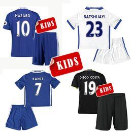 Wholesale 16 kids Chelsea home blue soccer Jersey Kits PEDRO FABREGAS HAZARD DIEGO COSTA WILLIAN KANTE Away black white child youth Football Shirt