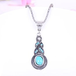 Wholesale Classic Vintage Antique Silver Plated Diamond Turquoise Necklace Pendant Necklace inlaid Blue Crystal twists and turns