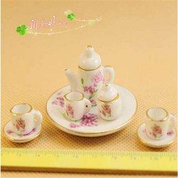 Wholesale 1 scale Dollhouse Miniature Porcelain China Tea Set Coffee set Pot Cup Tableware Set Doll house accessories Mini Decoration Accessory