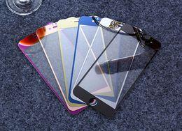 Plaque d'écran en Ligne-Colored verre trempé Film Protecteur d'écran Plaque de couleur Miroir Membrane Explosion Proof 9H Pour iphone7 iPhone 6s 6plus 5s avant et arrière