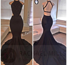 Wholesale 2016 Sexy Black Halter Satin Mermaid Long Prom Dresses Lace Beaded Backless Floor Length Split Evening Dresses Real Image Party Dresses