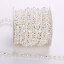 10yards 13mm Ivory Pearl Rhinestone Chain Trims Sewing Crafts Wedding Clothes Decorative Costume Applique