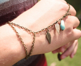New design gold chain ladies finger ring gold finger ring bracelet with turquoise and leaf charm gift for women girl