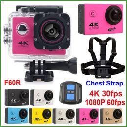 Wholesale Ultra HD Action camera WiFi F60 F60R K fps waterproof Sport camera Chest Strap quot LCD D lens Helmet Cameras Car DVR