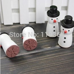 Wholesale-Funny snowman novelty rubber stamp Black and white Four snowflake designs Best gifts Labels, Indexes & Stamps)