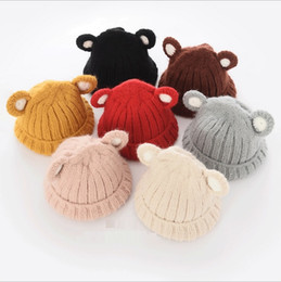 Wholesale Hug Me Children Caps Baby Cute Cartoon Bear Ears Hats Girls and Boys Caps New Autumn Winter Warm Knitting Hats ER