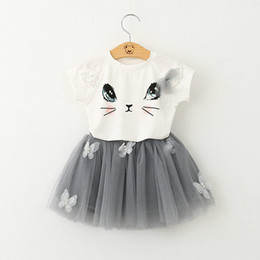 Wholesale 2016 new summer cute Cat Sequin Short Sleeve T Shirt TUTU skirt set Children Set Kids Suit Outfits Tutu Skirt Tulle Child lovely Clothes