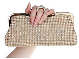 NEW Rhinestones Women Clutch Bags Diamonds Finger Ring Evening Bags Crystal Wedding Bridal Handbags Purse Bags Black Gold Silver