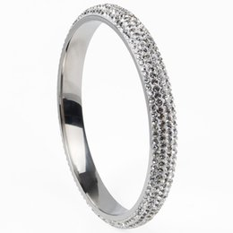 High quality shining 5 rows Crystal Stainless Steel bangles rhinestone For Love bangles Women Bracelets jewelry