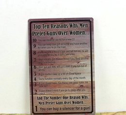 Wholesale TOP TEN REASONS WHY MAN PERFER GUNS OVER WOMEN Tin Sign Bar pub Retro Metal Art Poster hm29