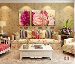 Free shipping 3 panels wall painting printed on canvas red pink flower canvas prints for modern home decoration oil painting