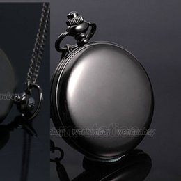 Wholesale Fashion New Arrival Classic Smooth Vintage Black Steel Women Mens Arabic Numbers Fob Pocket Watch
