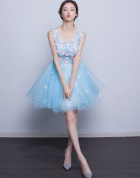 Cute Girls Short Prom Dresses With Flowers Pearls Sheer Lace Corset Pink Blue Purple Puffy Tulle Party Gown C1001