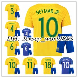 Wholesale best quality Brazil home yellow soccer jersey Kits NEYMAR JR PELE OSCAR D COSTA DAVID LUIZ Brazil away blue football shirt