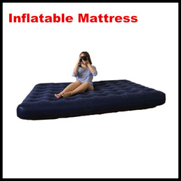 Wholesale New arrival Inflatable Mattress Air Bed Dark blue Deluxe Double King air bed queen size DHL Free