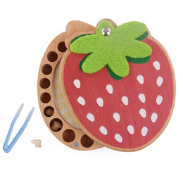 Wholesale New Arrival Baby Tooth Organizer Lanugo Hair Save Box Beech Wood Strawberry Montessori Souvenir Girl Birthday Gift