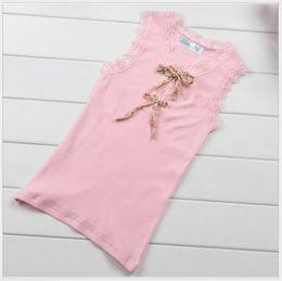 2016 Lovely Girls Lace Tank Tops Children Sleeveless Vest T-shirt Kids Clothing Fashion Girl 100% Cotton Tees Pink Green 100-140cm 5pcs lot