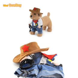 Головные уборы для собак для продажи-Pet костюм собаки костюм ковбоя с Hat Cosplay щенок Cat пальто Two Feet Одежда Easy Надень / выкл Pet Products