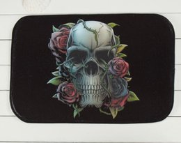 Wholesale Halloween Skull Design Print Door Bar Mat Floor Carpet Coral Fleece Rug Doormat For Hallway Non slip Alfombras Capacho Tapete