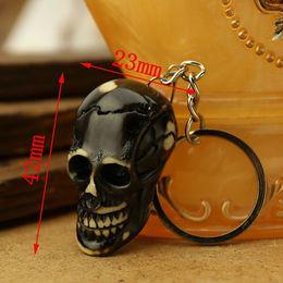 Wholesale 5pcs Yak Bone Key Chains The Black Skull Cool Man Pendant NEW key rings Jewelry Rare Totem Jewelry