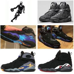 Wholesale 2016 cheap air Retro VIII Men Basketball Shoes Black White Aqua Men Athletic Sport Shoes Sneakers outdoor shoes Eur